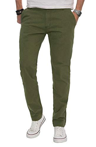 A. Salvarini Herren Designer Chino Stoff Hose Chinohose Regular Fit AS016 AS-016-Gruen-W38-L32