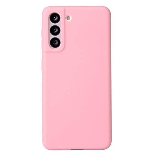 Para Samsung Galaxy S21 Funda Blanda De Silicona Líquida, Silicona Líquida Premium, Funda Trasera Antideslizante Funda Protectora De Cuerpo Completo a Prueba De Golpes (Rosa)