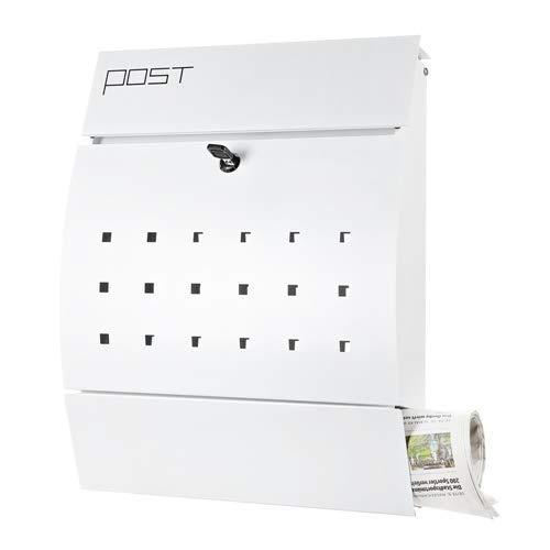 Melko Briefkasten Weiß 45x35x10,5 cm Wandbriefkasten halbrund Postkasten mit Zeitungsfach aus verzinktem Stahl