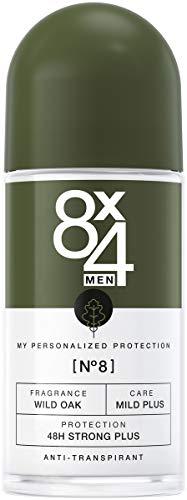 8X4 Men Deo Roll-On N°8 Wild Oak (50 ml), Herren Deodorant mit erdig-holzigem Duft, 48h zuverlässiger Anti-Transpirant-Schutz für sensible Haut