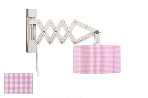 Waldi wandlamp Schaar Vichy met schakelaar 1-lamp, roze