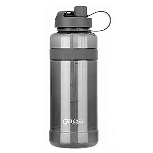 AOTEMAN Botella de agua de plástico de gran capacidad, resistente a altas temperaturas, botella de agua portátil con pajita, botella deportiva resistente a las caídas (2000 ml, negro)
