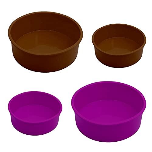 Yesloo 4 moldes redondos de silicona para hornear tartas, antiadherentes, antiadherentes, para tartas, panqueques, pizzas, mousse, 15,2 cm y 20,3 cm