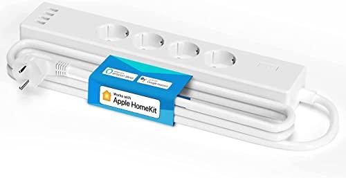 HomeKit Steckdosenleiste, Refoss WLAN Mehrfachsteckdose, mit 4 AC-Ausgänge und 4 USB-Anschlüsse, kompatibel mit Apple Siri, Alexa, Google Assistant, 2,4Ghz