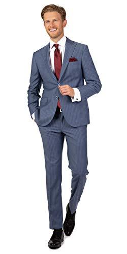 Linus Slim Fit Businessanzug in graublau mit Nadelstreifen (52)