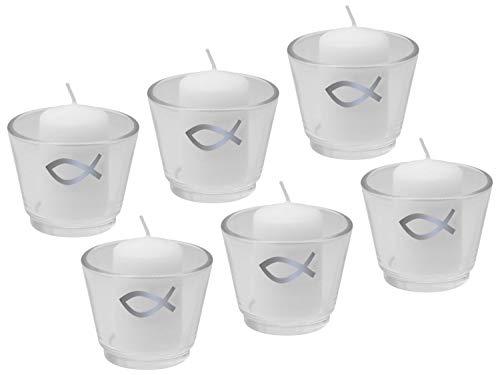 6X Kerze Votivkerze 6X Votivglas Kommunion Konfirmation Fisch Silber Tischdeko Kerzenglas