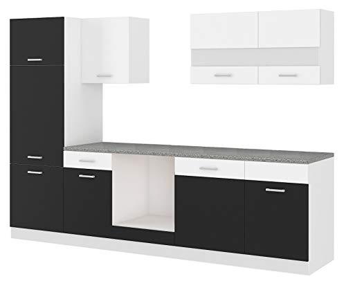 Küche CORA I 280 Küchenzeile Küchenblock Einbauküche Weiss Schwarz