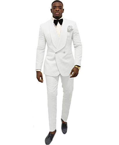 Zeattall Men's Shawl Lapel Suit 2 Pieces Wedding Groom Tuxedos Double-Breasted Suits(Custom Made,White)