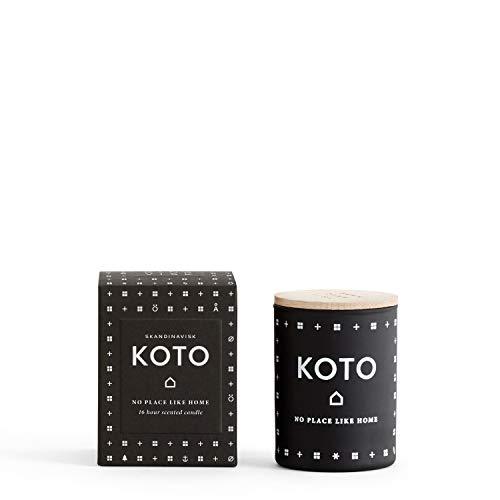 Skandinavisk Koto (Home) geurkaars mini, met gravure beukenhouten deksel 55 g