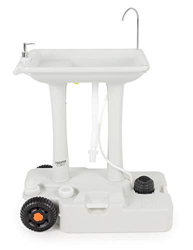 Stagecaptain PSW-30 Pro Quixie Portables Festival Camping-Waschbecken - Mechanische Fußpumpe - Wassertank mit 30 Liter - Spülbecken inklusive Spender für Flüssigseife und Handtuchhalter - hellgrau