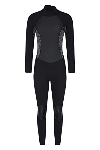 Mountain Warehouse Langer Damen-Neoprenanzug - Körper: 2.5mm, Konturfit, verstellb. Ausschnitt, hält Körperwärme, einteilig Schwarz 34-36