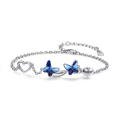 Pulsera de mariposa para mujer pulsera de cristal azul de plata de ley 925 para niñas pulsera de brazalete de joyería de animales para esposa novia