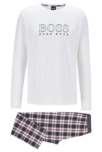 BOSS Herren Cosy Long Set Geschenkbox mit Pyjama aus Baumwolle mit Karierter Hose