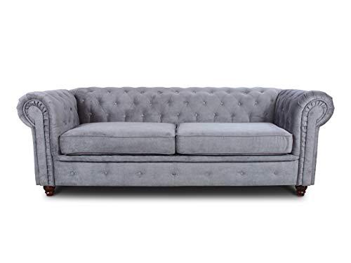 Sofa Chesterfield Asti 3-Sitzer, Couch 3-er, Glamour Design, Couchgarnitur, Sofagarnitur, Holzfüße, Polstersofa - Wohnzimmer (Grau (Capri 09))