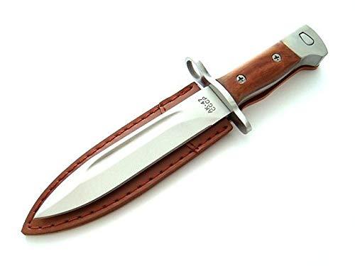 AK CCCP 47 Bajonett Messer mit Holster, Gürtelmesser - Griff aus Holz - scharfes Messer AK47, braun Silber (26cm feststehende Klinge)