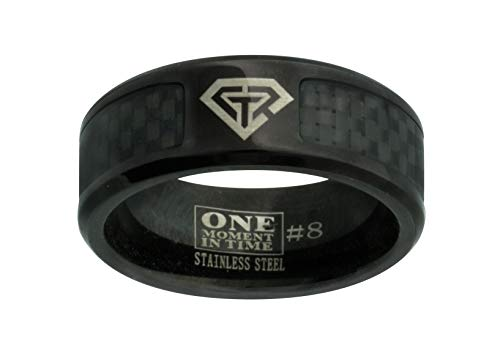 J198 Size 9 Black Carbon Fiber Superman Stainless Steel CTR Ring Mormon LDS Unisex One Moment In Time