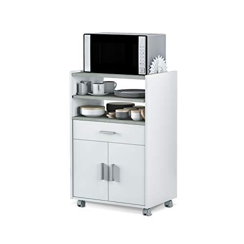 Mueble Auxiliar para Microondas, Mesa Cocina con un Cajón y dos Puertas, Color Blanco y Cemento, Medidas: 92 cm (Alto) x 59 cm (Ancho) x 40 cm (Fondo)