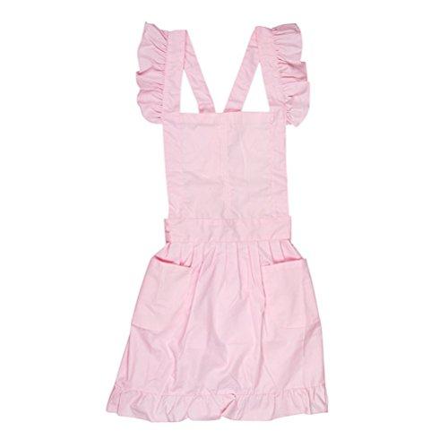 XCWQ schort stijl schort meid smock kostuum jurk ruche zakken (roze)