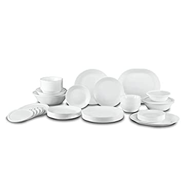 Corelle Winter Frost White Dinnerware Set with Storage Lids (74-Piece, Service for 12)