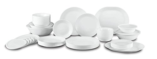 CORELLE Winter Frost White Dinnerware Set with Storage Lids 74-Piece, (Service for 12)