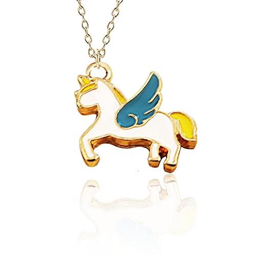 NETUPQ collarModa Unicornio Colgante Collar Mejores Amigos Kawaii Lindo Collar de Gargantilla de Cadena Dorada para Mujeres niñas Regalos