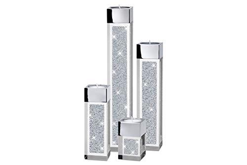 My IMPLEXIONS Set de cuatro pilones modernos portavelas de refinados con cristales...