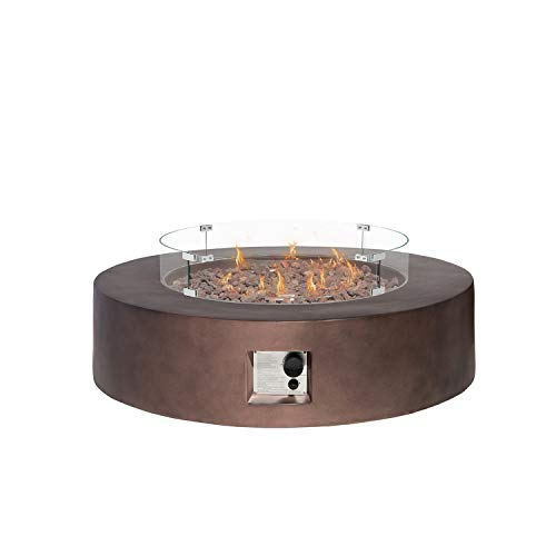 HOMPUS Propane Patio Fire Pit Table with Wind Guard, Lava Rocks and Rain Cover for Outdoor Leisure Party,50,000 BTU 42-inch Round Bronze Concrete Fire Table