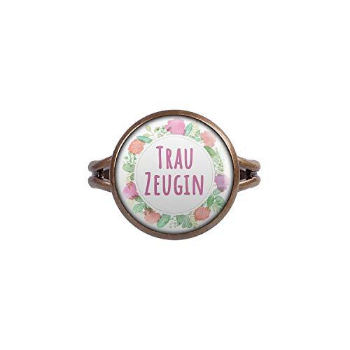 Mylery Ring mit Motiv Trau-Zeugin Blumen-Kranz Bronze 14mm