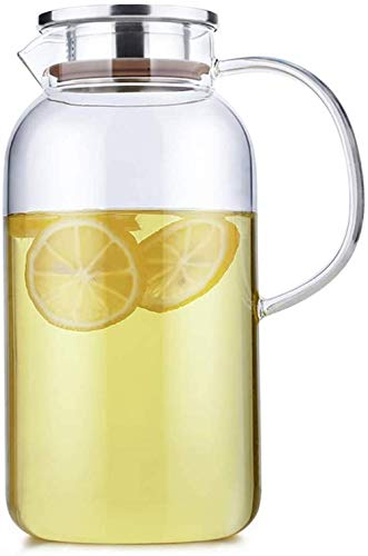 Teapot Teapot Glass Pitcher with Stainless Steel Lid and High Capacity Spout Water Carafe with Handle for Red Wine Juice Milk Ice Cold Water Hot Coffee 1.8L /2.0L (Size : 2.0L) Song (Size : 2.0L)