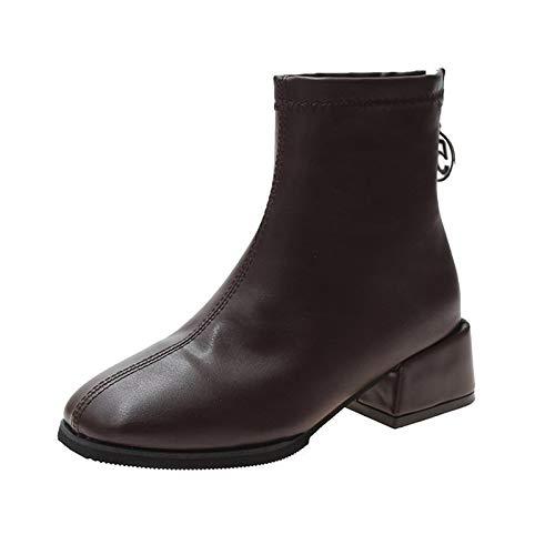 Damen Stiefel Quadratischer Kopf Dicke Ferse Kurze Stiefel Reißverschluss Kurze Stiefel