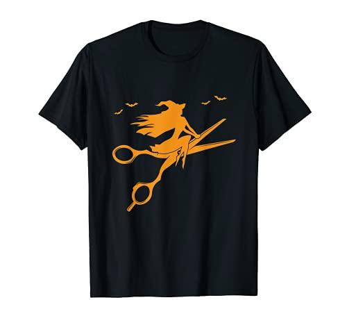 Sorcière avec ciseaux, balai, coiffeur, cadeau d'Halloween T-Shirt