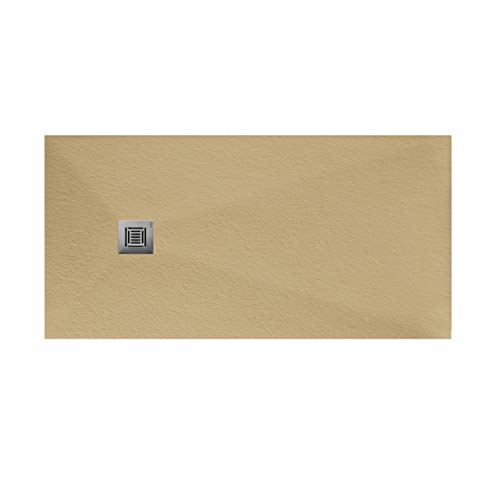 Plato de ducha rectangular de 180 x 80 x 3 centímetros, con válvula de desagüe, colección Suite N, color arena (Referencia: 6348843)