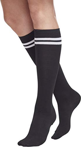 Urban Classics TB770 Damen Matt Fein Kniestrümpfe Ladies College Socks, Mehrfarbig (Blk/Wht 50), 40/41 (Herstellergröße: 40-42)