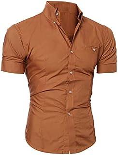 Fbnzmluqdx Tshirt for Men Men Shirts Tops Summer Social Chemise Men's short Sleeve Shirt New Mens Homme Solid Color Busine...