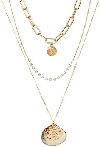 Collar Charm Multi Layer Color Coral Shell Collar de cadena larga con colgante Mujeres Retrato Moneda Carta Collar en capas