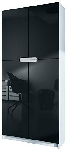Vladon Büroschrank Aktenschrank Büromöbel Logan, Korpus in Weiß matt/Fronten in Schwarz Hochglanz