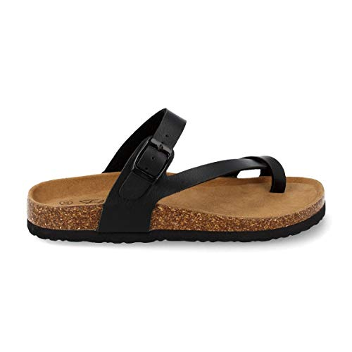 Sandalia de Dedo Mujer Tipo Esclava con Tira Cruzada y Planta Anatomica Bio. Primavera Verano 2020. Talla 36 Negro
