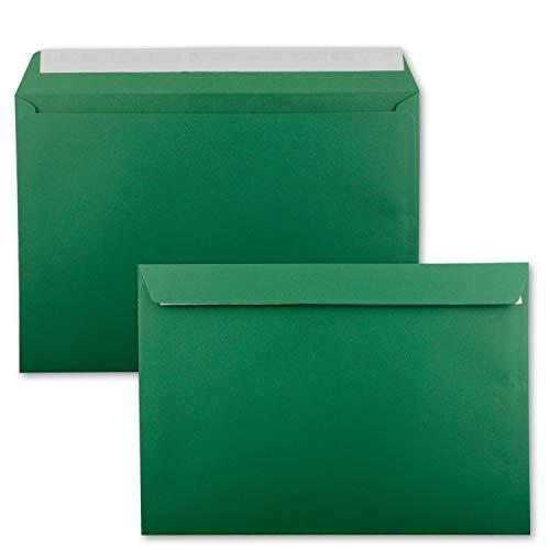 25x große XXL Briefumschläge DIN C4 in Dunkelgrün (Grün) - 22,9 x 32,4 cm - Haftklebung ohne Fenster - Versandtasche für DIN A4 geeignet