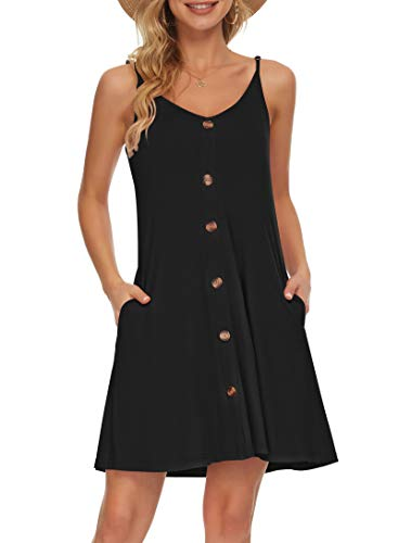 AUSELILY Vestido de Playa Informal con Cuello en V y Correa de Espagueti de Verano para Mujer con Bolsillos(Negro,Large)