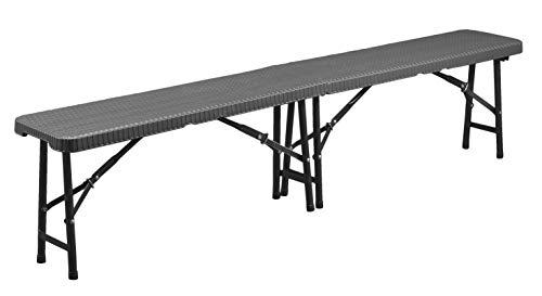 CON:P Sitzbank klappbar - Moderne Rattan-Optik - anthrazit - Pflegeleichtes Material - 183 x 43 x 28...