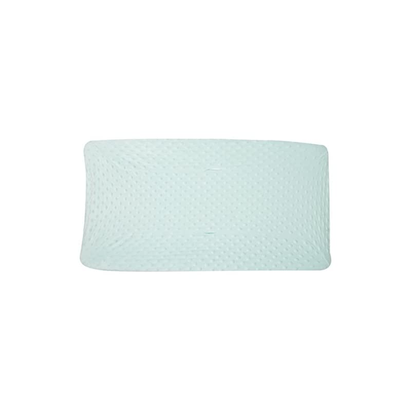 crib bedding and baby bedding american baby company heavenly soft minky dot fitted contoured changing pad cover, mint puff, for boys and girls