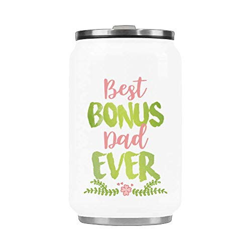 10.3 Oz Portable Coffee Mug With Straw Stainless Steel Vacuum Cup Thermos Happy Father's Day Mug - Best Bonus Dad Ever Mug Travel Watter Bottle