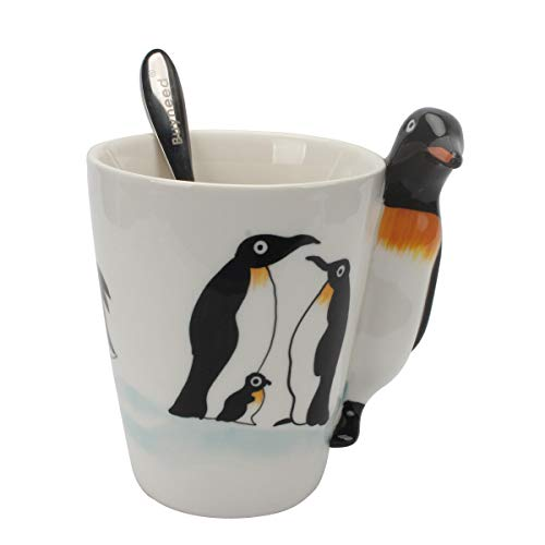 Novelty Funny Hand Painted Coffee Mug - Penguin 3D Handle Handmade Large 15 oz Porcelain Tea Cup Unique Ideal Gifts