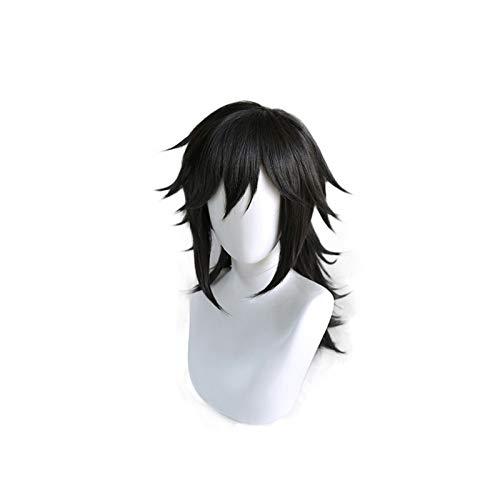 Anime Demon Slayer Kimetsu No Yaiba Tomioka Giyuu Cosplay pelucanegro esponjoso resistente al calor pelo sinttico Anime disfraz pelucas