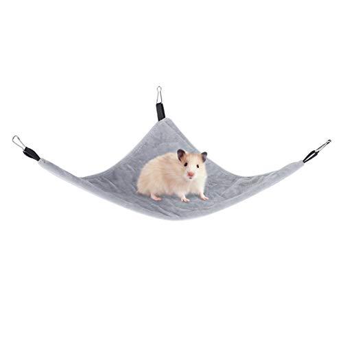 Kleines Haustier Hängematte Dreieck Haustier Käfig Hängematte hängenden Bett Käfig Zubehör für Hamster Eichhörnchen Zucker Segelflugzeug Meerschweinchen Mäuse Ratten Vögel(grau)