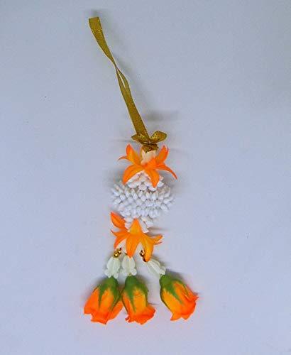 "FUSAP Thai Rose Jasmine Garland Fabric Flowers -Souvenir 6"" (Orange)"