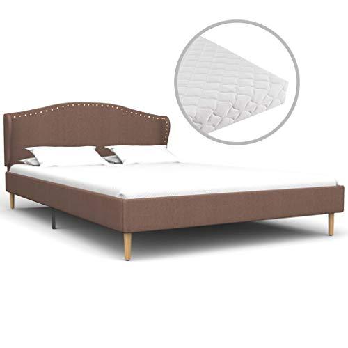 vidaXL Bed met Matras Stof Bruin 120x200 cm Bedframe Twijfelaar Ledikant