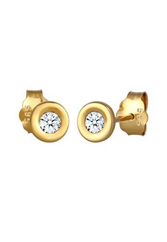 DIAMORE Ohrringe Damen Ohrstecker Klassisch Solitär mit Diamant (0.12 ct.) in 585 Gelbgold