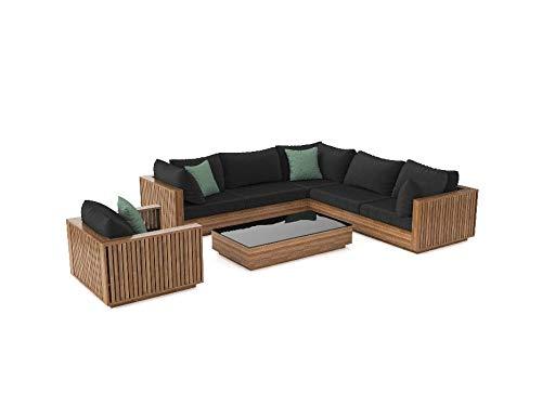 ARTELIA Piano Loungeset Terrassenmöbel aus Holz - Premium Gartenmöbel-Set für Garten, Wintergarten und Balkon, Sitzgruppe, naturfarbe Akazie