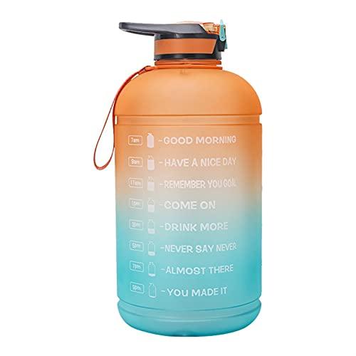 WYDMBH Botella de Agua Plegable 1 galón / 128oz Botera Deportiva Botella de Agua con Marcador de Tiempo a Prueba de Fugas Fitness Gimnasio Gimnasio Drinkware 3.8L Hervidor